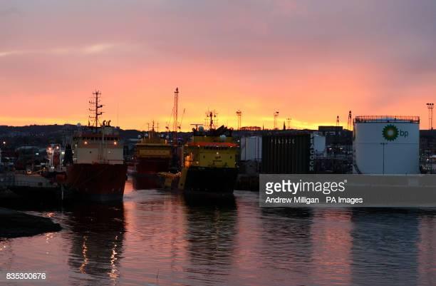 Aberdeen Harbour at sunset