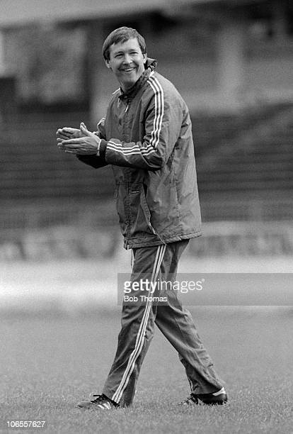 Aberdeen manager Alex Ferguson during a team training session in Gothenburg Sweden on the 10th May 1983