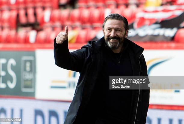 Aberdeen manager Derek McInnes at full time during the Ladbrokes Premiership match between Aberdeen and Celtic at Pittodrie Stadium on October 25...