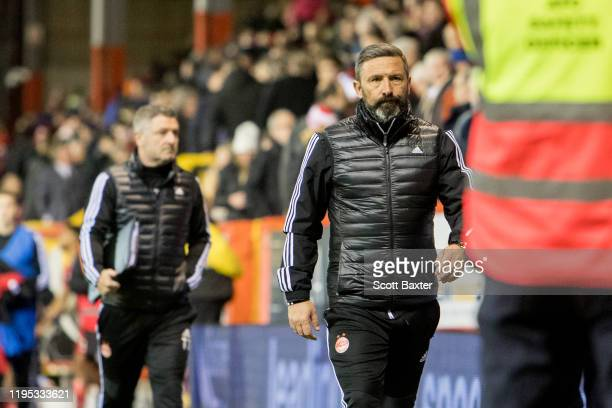 Aberdeen manager Derek McInnes during the Ladbrokes Premiership match between Aberdeen and Motherwell at Pittodrie Stadium on January 22 2020 in...