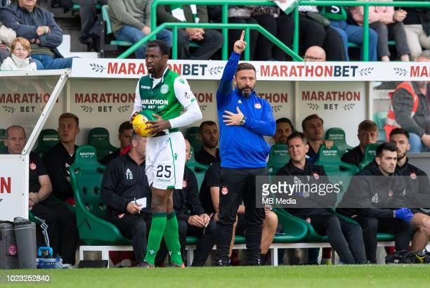 Aberdeen manager Derek McInnes during the second half as Hibernian play host to Aberdeen at Easter Road on August 25 2018 in Edinburgh Scotland