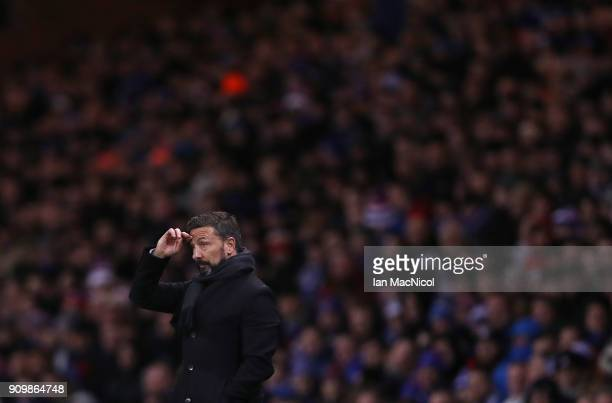 Aberdeen manager Derek McInnes is seen during the Ladbrokes Scottish Premiership match between Rangers and Aberdeen at Ibrox Stadium on January 24...