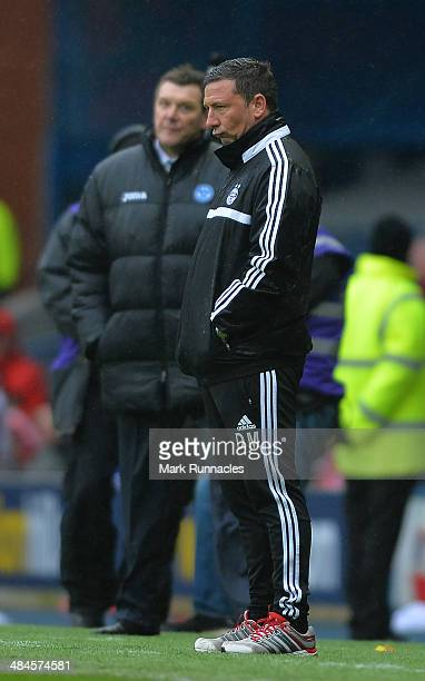 Aberdeen manager Derek Mcinnes watches on during the William Hill Scottish Cup Semi Final between St Johnstone and Aberdeen at Ibrox Stadium on April...