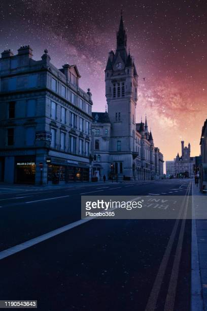 aberdeen, scotland at night under the milky way - aberdeen scotland stock pictures, royalty-free photos & images