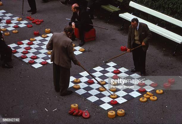 Aberdeen, Scotland. Outdoor Game of Draughts in Union Terrace Gardens in City Centre, Aberdeen, Scotland, 20th century, c1960s. Aberdeen is...