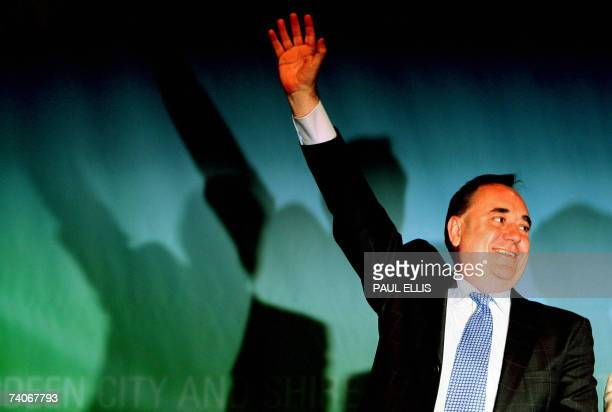 Scottish National Party leader Alex Salmond reacts following the result of the ballot of the Gordon constituency at the Aberdeen Exhibition and...