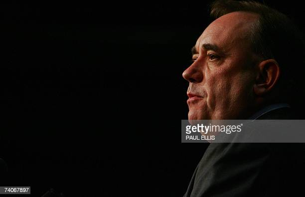 Scottish National Party leader Alex Salmond speaks after hearing the result of the Gordon constituency ballot at the Aberdeen Exhibition and...