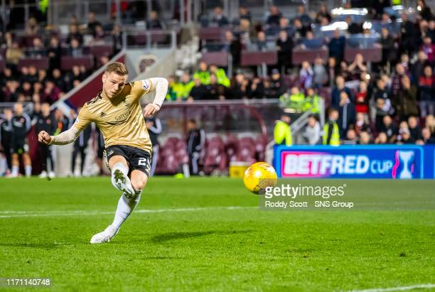 Aberdeens Bruce Anderson misses a penalty during the penalty shootout in the Betfred Cup Quarter-Final match between Heart of Midlothian and Aberdeen...