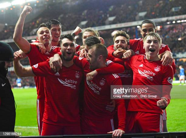 Aberdeen's Connor McLennan celebrates his goal with team mates
