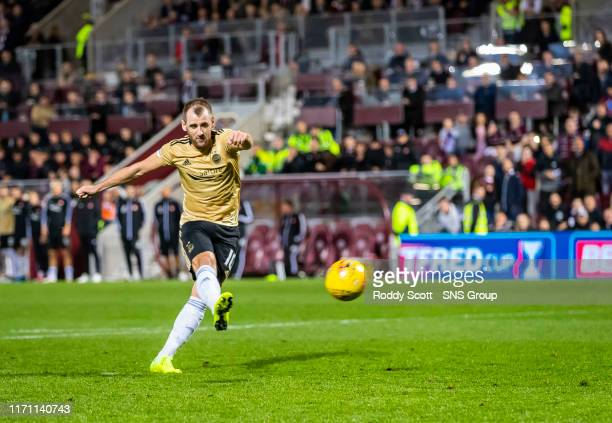 Aberdeens Niall McGinn misses a penalty during the penalty shootout in the Betfred Cup Quarter-Final match between Heart of Midlothian and Aberdeen...
