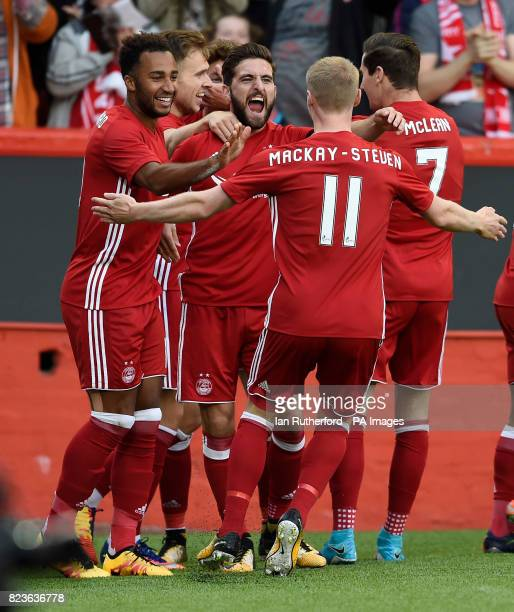 AberdeenÕs Ryan Christie celebrates scoring his side's first goal of the game with teammates during the UEFA Europa League Qualifying Third Round...