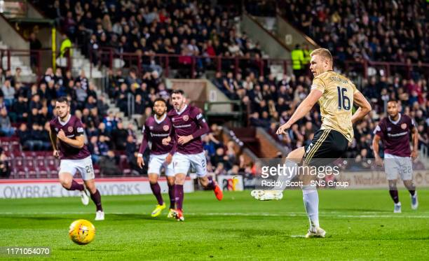 Aberdeens Sam Cosgrove scores his second goal to make it 1-2 during the Betfred Cup Quarter-Final match between Heart of Midlothian and Aberdeen at...