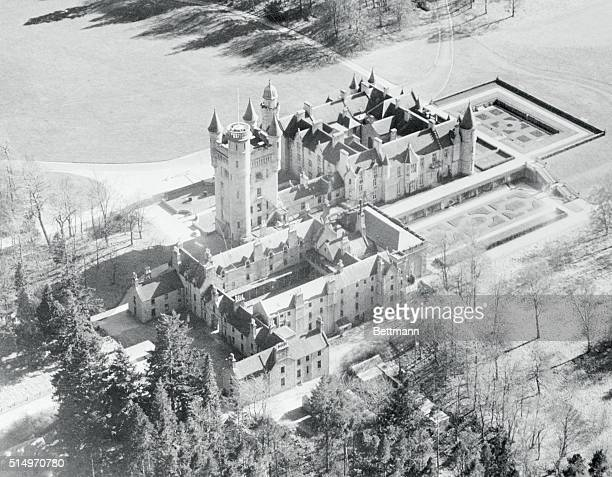 Aberdeenshire Scotland Castle From The Air Turrets and spires reaching toward the sky lend a fairy tale atmosphere to historic Balmoral Castle the...