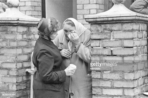 A lady from The Salvation Army consoles an elderly lady who is distraught at the unfolding events in Aberfan today The Aberfan disaster was a...