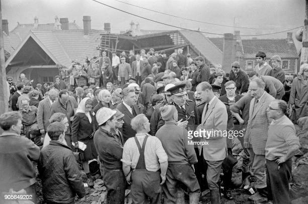 Aberfan 22nd October 1966 The Duke of Edinburgh talks to the police and the men of Aberfan to raise morale and praise them for their efforts in...