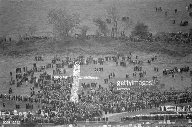 Aberfan 27th October 1966 The huge cross of wreaths on the Aberfan hillside cemetery as the funerals take place The Aberfan disaster was a...