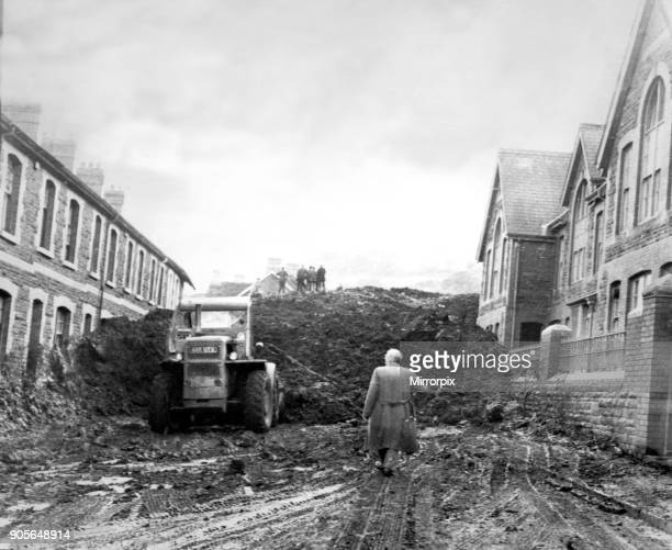 Aberfan Disaster 21st October 1966 Picture shows the mud in Moy Road Houses on the left Pantglas Junior School on the right Both are no longer there...