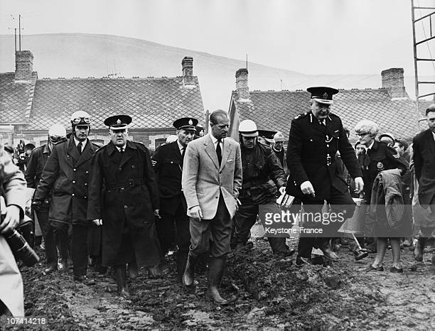 Aberfan Disaster Prince Philip Visiting The Tragic Village At Wales In United Kingdom On October 22Nd 1966