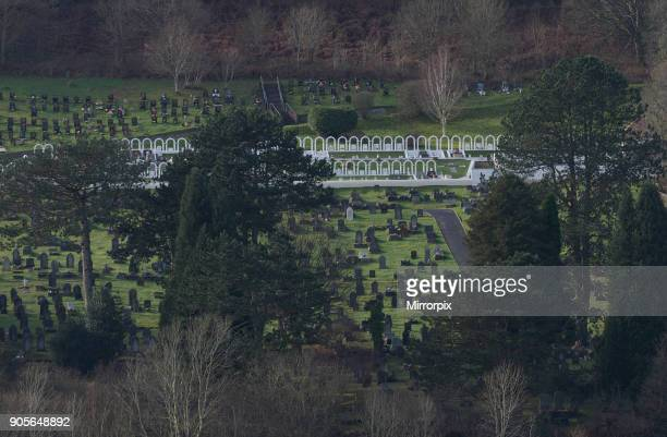 Picture shows Gv of the Aberfan cemetery where 116 pupils and 28 adults were killed when mining spoil from the hillside high above the town behind...