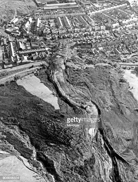 Aberfan South Wales Picture taken 1pm on 21st October 1966 Picture taken from the air shows the top of the mountain and the mining spoil that has run...
