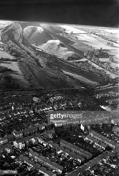 Aberfan Wales 21st October 1966 An aerial view of the scene where a two million ton mountain of coal pit waste fell on this mountain mining village...