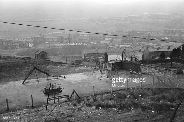 Abertillery the largest town of the Ebbw Fach valley in what was the historic county of Monmouthshire now Gwent county An empty playground 17th...