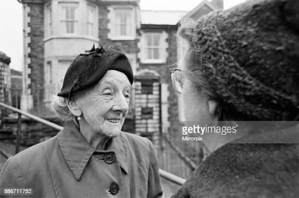 Abertillery the largest town of the Ebbw Fach valley in what was the historic county of Monmouthshire now Gwent county Two women enjoying a chat 17th...