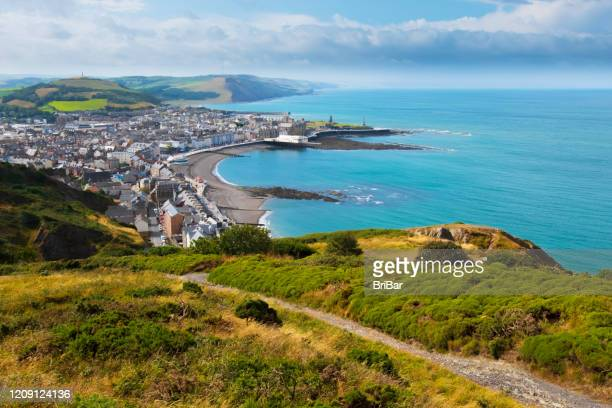 aberystwyth, sea and welsh coast - coastline stock pictures, royalty-free photos & images