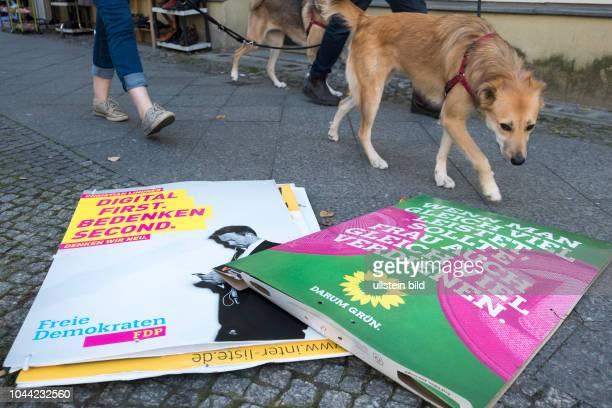 Abgehängte Wahlplakte von der FDP und Bündnis 90 / Die Grünen liegen in Berlin zur Entsorgung auf dem Gehweg