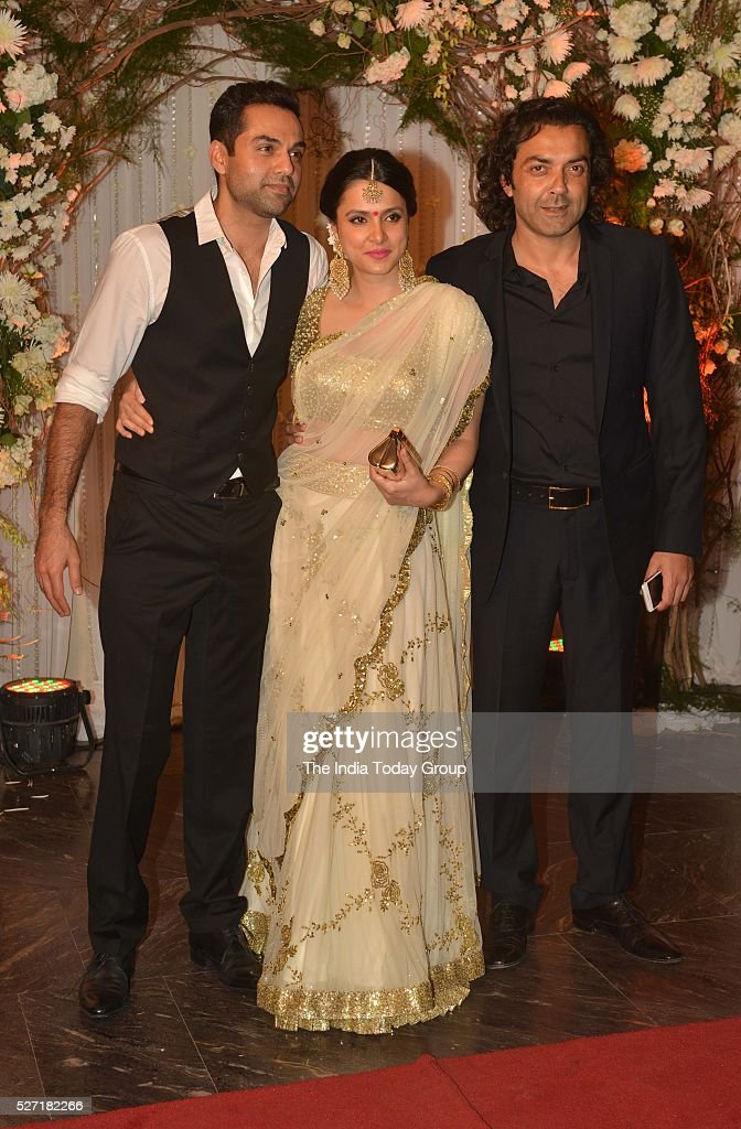 Abhay Deol and Bobby Deol at Bipasha Basu and Karan Singh Grovers wedding reception ceremony at St Regis Hotel in Mumbai