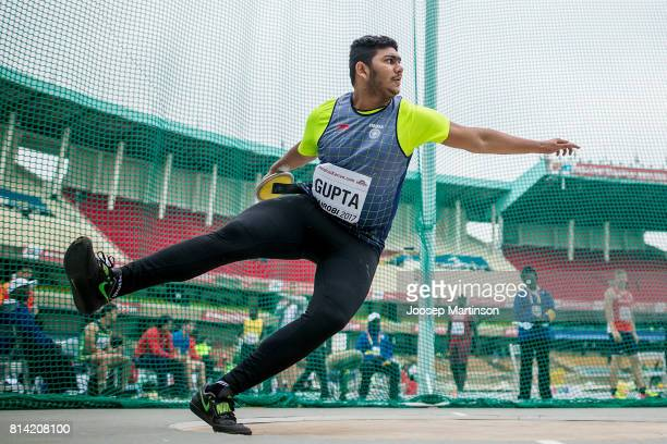 Abhay Gupta of India competes in the boys discus throw qualification during day 3 of the IAAF U18 World Championships at Moi International Sports...