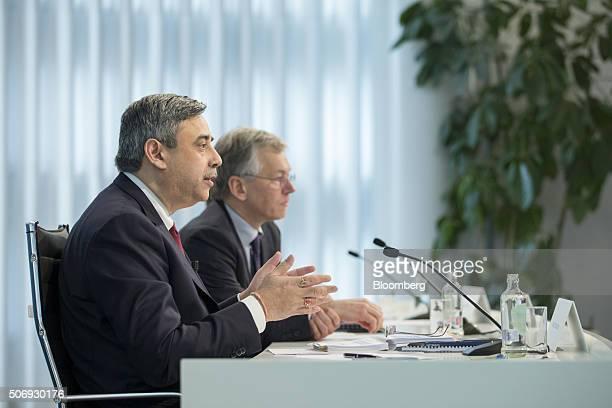 Abhijit Bhattacharya chief financial officer of Royal Philips NV left speaks as Frans van Houten chief executive officer of Royal Philips NV looks on...