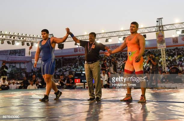 Abhijit Katke of Pune beats Ganesh at Maharashtra Kesari Tournament held at Bhugao on December 22 2017 in Pune India
