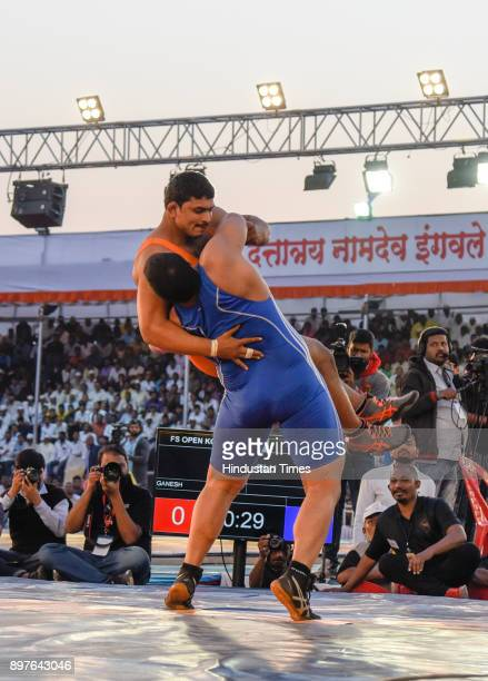 Abhijit Katke of Pune tries to take down his opponent with a swift move at Maharashtra Kesari Tournament held at Bhugao on December 22 2017 in Pune...