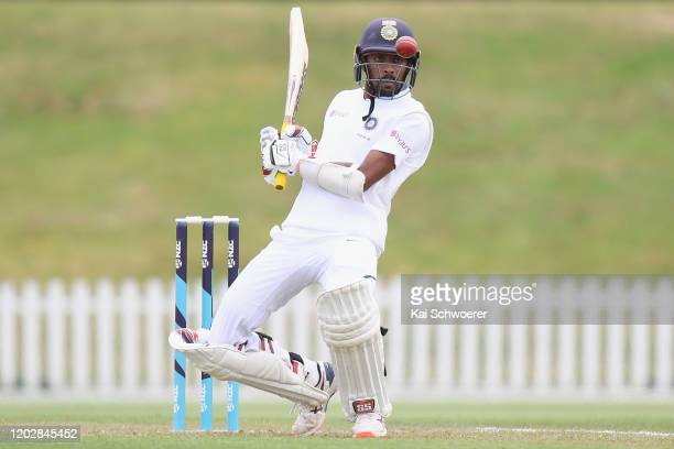 Abhimanyu Easwaran of India A ducks under a bouncer during Day 1 of the Test Series between New Zealand A and India A at Hagley Oval on January 30...