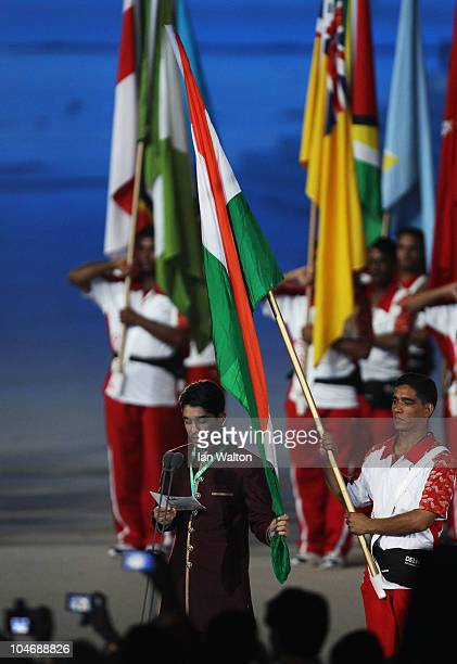 Abhinav Bindra of India delivers an oath on behalf of all the athletes during the Opening Ceremony for the Delhi 2010 Commonwealth Games at...