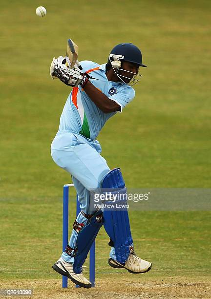Abhinav Mukund of India pulls the ball away towards the boundary during the One Day International match between England Lions and India A at New Road...
