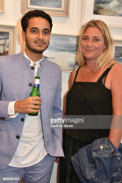 Abhishek Advani and Tabitha Webb attend a private view of 'Moments' by artist Jemma Powell hosted by Anthropologie King's Road on June 28 2018 in...