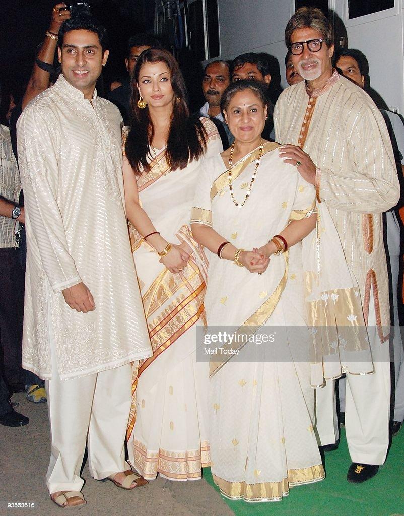 Abhishek Aishwarya Jaya and Amitabh Bachchan in Mumbai at the launch of the Book MadhushalaThe House of Wine on Saturday November 28 2009 Amitabh...