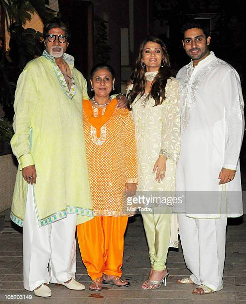 Abhishek Amitabh Jaya and Aishwarya Bachchan during a party to celebrate Amitabh's birthday in Mumbai on October 11 2010