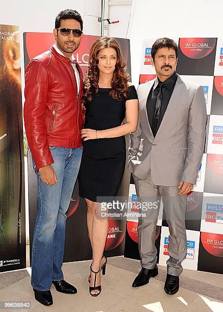 Abhishek Bachchan Actress Aishwarya Rai Bachchan and Actor 'Chiyaan' Vikram attend the 'Raavan' Photocall at the Salon Diane at The Majestic during...