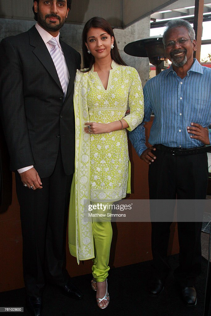 Abhishek Bachchan Aishwarya Rai and Mani Ratnam attend a reception before the screening of `Guru` at the Napa Valley Grill on August 14 2007 in...