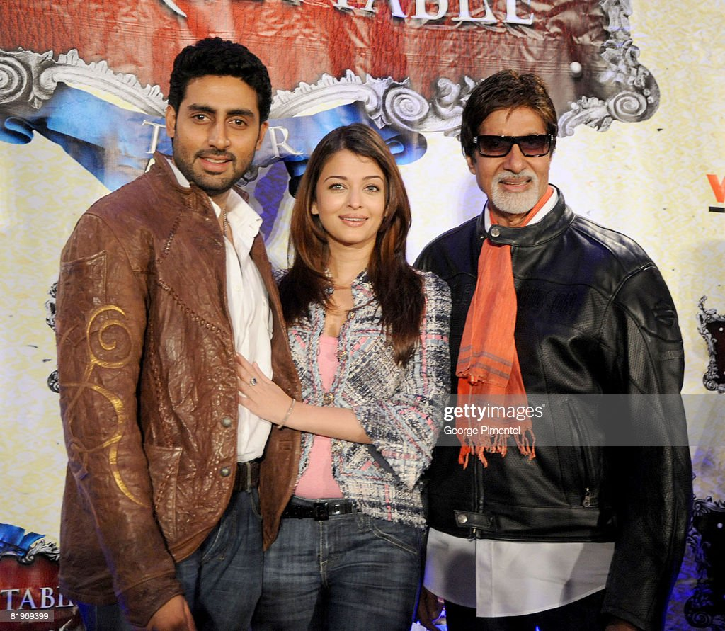 Abhishek Bachchan Aishwarya Rai Bachchan and Amitabh Bachchan attends The Unforgettable Tour Press Conference at the Hilton Hotel in Toronto Canada...
