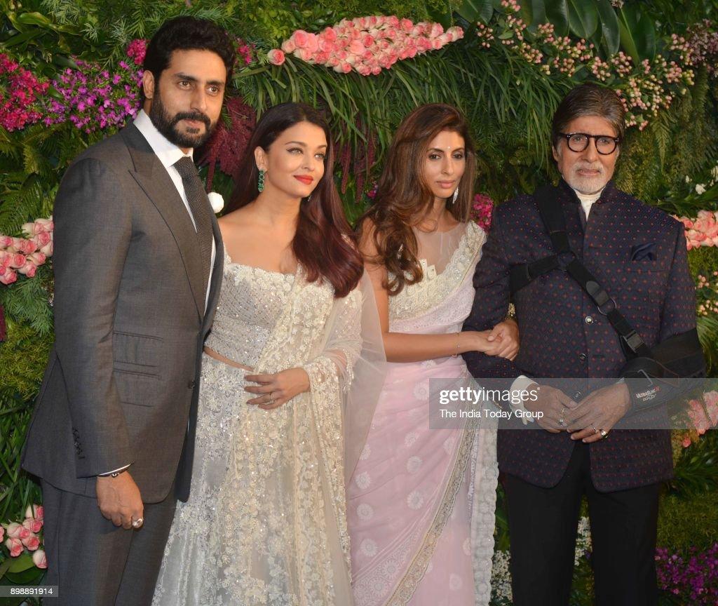 Abhishek Bachchan Aishwarya Rai Bachchan Shweta and Amitabh Bachchan at Virat Kohli and Anushka Sharmas reception in Mumbai
