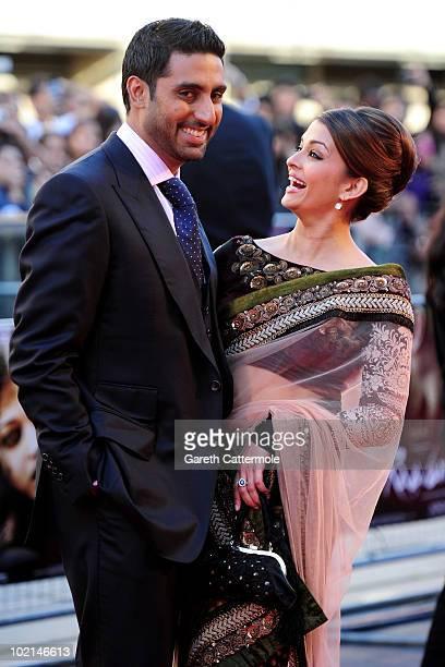 Abhishek Bachchan and Aishwarya Rai arrive at the World Premiere of Raavan at the BFI Southbank on June 16 2010 in London England