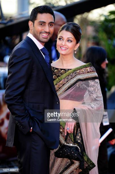 Abhishek Bachchan and Aishwarya Rai arrive at the World Premiere of Raavan at the BFI Southbank on June 16 2010 in London England