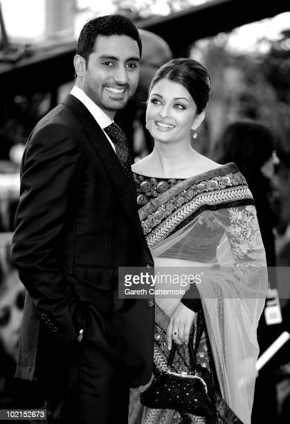Abhishek Bachchan and Aishwarya Rai arrive at the World Premiere of 'Raavan' at the BFI Southbank on June 16 2010 in London England