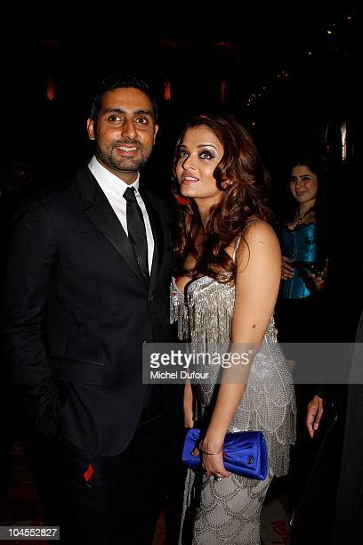 Abhishek Bachchan and Aishwarya Rai attend the Roberto Cavalli party 40 anniversary at Les BeauxArts de Paris on September 29 2010 in Paris France