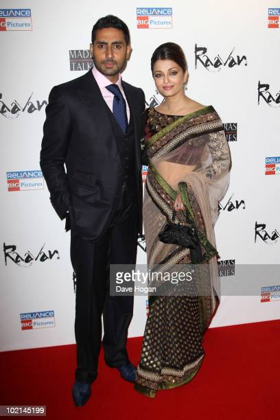 Abhishek Bachchan and Aishwarya Rai attend the world premiere of Raavan held at The BFI Southbank on June 16 2010 in London England