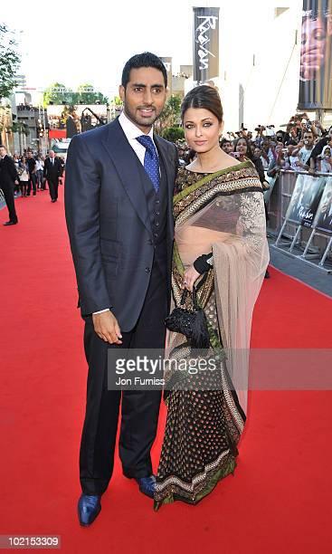 Abhishek Bachchan and Aishwarya Rai Bachchan arrives at the London premiere of Raavan at BFI Southbank on June 16 2010 in London England
